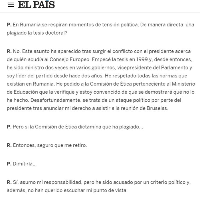 Înregistrare audio: Victor Ponta declară, pentru ziarul spaniol El Pais, că va demisiona dacă se dovedește plagiatul