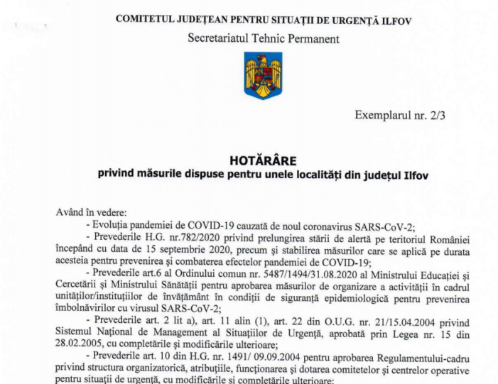 Restricții cauzate de Covid19 în 13 localități din Ilfov