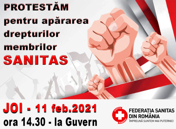 Federația SANITAS pichetează Guvernul României, joi, 11 februarie 2021,de la ora 14.30