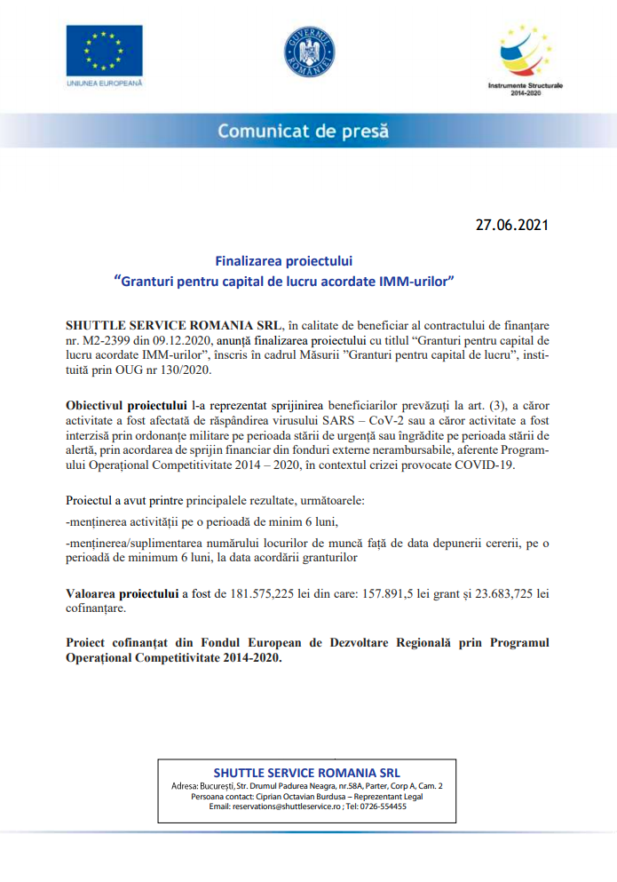 """Finalizarea proiectului """"Granturi pentru capital de lucru acordate IMM-urilor"""""""